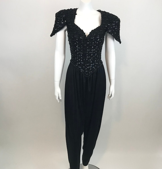 Vintage 80s Black Sequin Jumpsuit  Womens Juniors