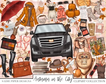AUTUMN in the CITY Clipart, New York City Clipart, New York Fashion Week Clipart, Fashion Clipart, Fall Autumn Pumpkins, NYC Shopping Big Ci