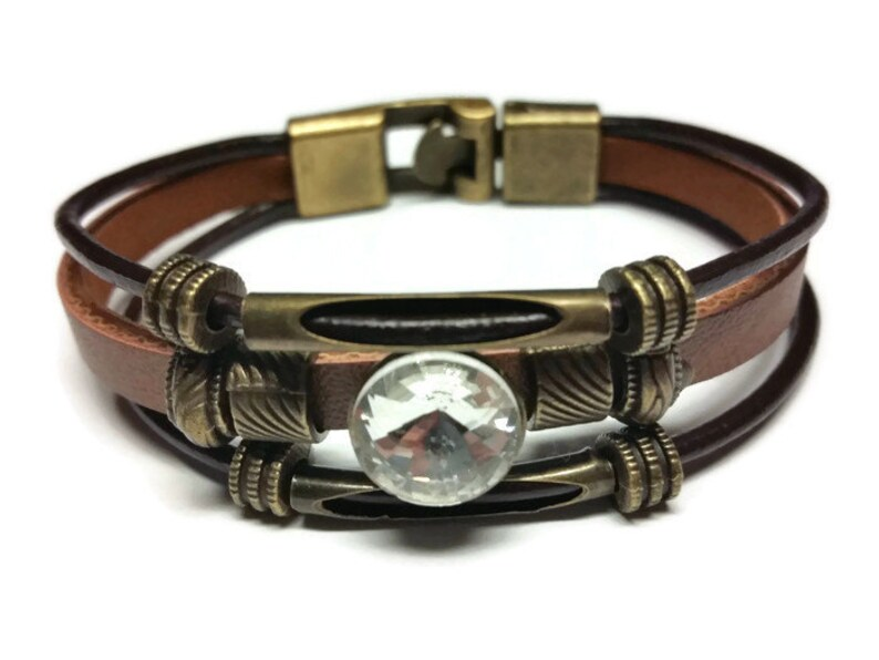 Tribal Charm Bracelet  Crystal Accent Charm  Womens Brown Leather Wrap Bracelet  Anniversary Gift  Gift for Her  Birthday Gift for Her