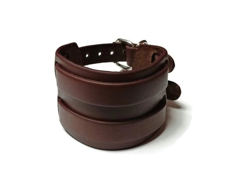 Gift for Him Braided Leather Arm Cuff Brown Genuine Leather Cuff Bracelet for Men or Women Chunky Leather Arm Jewelry Gift for Her