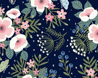 Meadow Whispers Meadow Flowers in Midnight By Bex Morley For Windham Fabrics