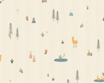 1/2 Yard Forest Cuties Straw Dear Friends Collection for Cotton & Steel Fabrics, Alijt Emmens, Unbleached Fabric, Animals