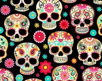 SOFTIE Sugar Skulls Poly Minky Fleece By Timeless Treasures Sold By Half Yard