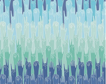 Grl Pwr Put Your Hands Up Mint By Riley Blake Fabric Sold By Half Yard