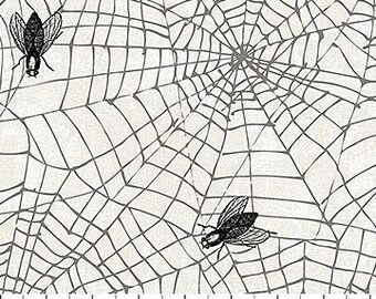 Wicked Gray Flies and Spiderwebs By Northcott Fabrics