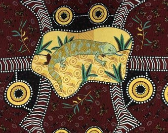 Blue Tongue Brown By Nambooka For M & S Textiles  Australia, Aboriginal, Indigenous, Lizards