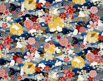 The Moon Rabbit Oriental Floral Blue By Paintbrush Studio Fabrics