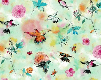 "10""x10""  Hummingbird Flight Seafoam From The Bloom Bloom Butterfly Collection By RJR Fabric"