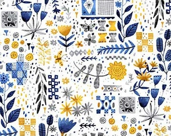 Eloise's Garden  Tiles and Flowers Yellow/White 90031-52 By Abigail Halpin for FIGO Fabric,
