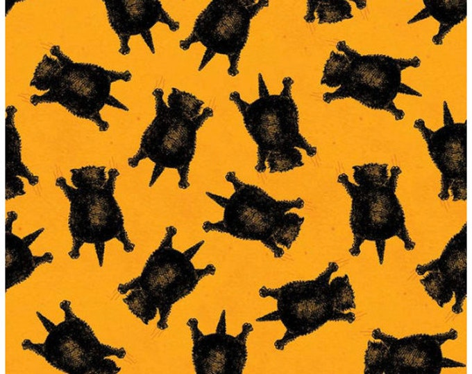 Featured listing image: Goose Tales Scaredy Cats Toss Orange By Riley Blake Fabrics,  Halloween