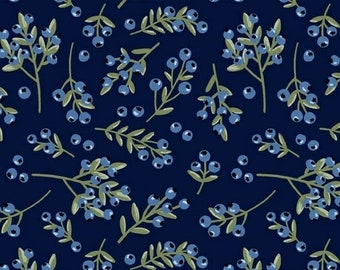 Meadow Whispers Blue Berries in Midnight By Bex Morley For Windham Fabrics