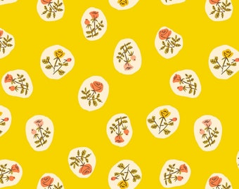 Fat Quarter Heather Ross 20th Anniversary Yellow Small Roses  By Windham Fabric