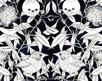 Wrens And Eucalyptus Black by Patricia Weeks For M & S Textiles Australia, Aboriginal, Indigenous