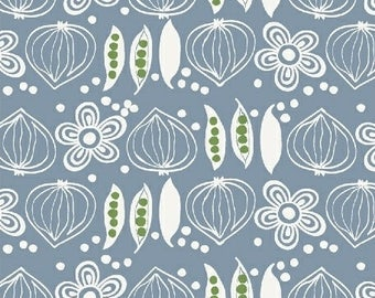 Fat Quarter Onions And Peas Blue Cucina By Victoria Johnson For Windham Fabrics, Italian Kitchen, Cooking, Food