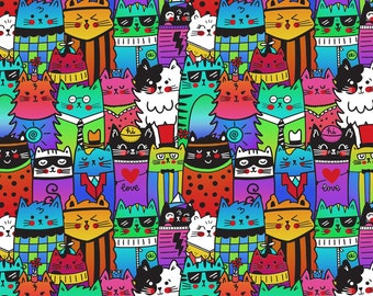 """14"""" x 44"""" Pop Cats By Timeless Treasure, Cat Lover Cat Lady"""