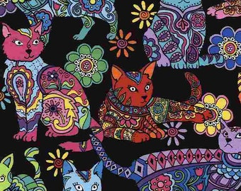 Fat Quarter Cat Coloring Crazy For Cats Collection By Timeless Treasures Sold By Half Yard