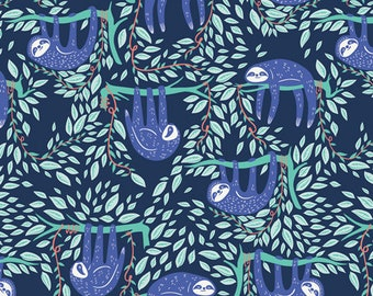 Fat Quarter Swaying Sloths Serene Selva Collection By Art Gallery Fabrics