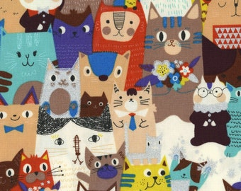 """15"""" x 44"""" Powerful Glitter Cats Oxford From Kokka Japan, Cat Lover, Cat Lady Fabric"""