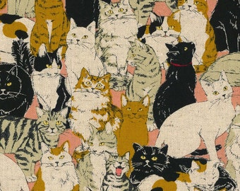 More Cats Salmon Cotton Linen Canvas Cosmo Japan, Cat Fabric Sold By Half Yard