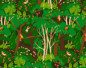 Heather Ross 20th Anniversary Climbing Trees Green By Windham Fabric
