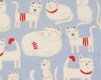 Cat Line Art Blue Oxford By Kokka Japan, Cat Fabric, Cat Lover
