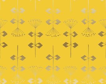Fat Quarter Penpengusa Peking Grass Yellow Metallic Neko and Tori Collection for Cotton & Steel Fabrics