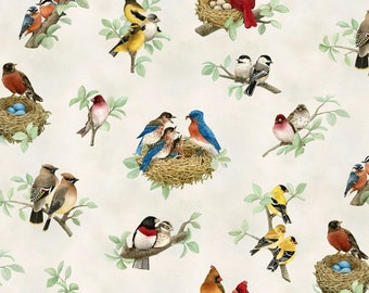 Fat Quarters Beautiful Birds Cream By Elizabeth's Studio