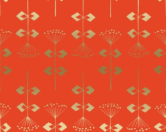"13"" x 42""  Penpengusa Peking Grass Tomato Metallic Neko and Tori Collection for Cotton & Steel Fabrics"