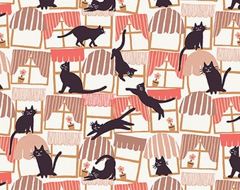 """10"""" x 44""""  Hats for Cats Black Cats And Windows By Paintbrush Studio Fabrics, Cats, Cat Lady, Cat Lover"""