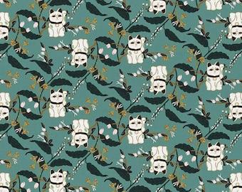 Imperial Garden Lucky Cat Dark Green Designed Teresa Chan By Paintbrush Studio Fabrics