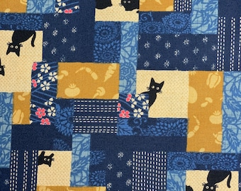Black Cats Blue Quilt By Westex Sold By Half Yard