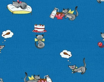 Tabby Teasers Blue What's Cooking Collection By Michael Miller Fabrics Sold By Half Yard