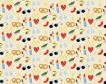 Fat Quarters Friends & Faces Hearts And Lipstick By Paintbrush Studio Fabrics