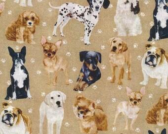 My Pet Family Dogs Tan By Paintbrush Studio Fabrics