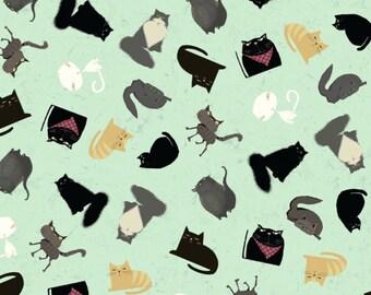 Fat Quarter Snarky Cats Kitten Play Light Mint By Clothworks