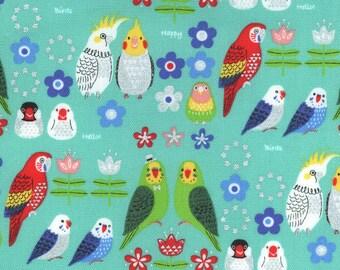"14"" x 44"" Bird Friends Teal Powerful Glitter Metallic Oxford By Kokka Japan"