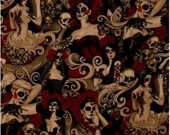 Las Elegantes Dark Smoke Nicole's Prints By Alexander Henry Fabrics, Dia de los Muertos 4   Sold by Half Yard