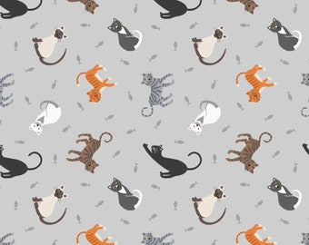 Fat Quarter Small Things Pets Cats Gray By Lewis And Irene Fabric