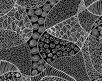 Bush Coconut Dreaming Black By Audrey Martin Napanangka For M & S Textiles  Australia, Aboriginal, Indigenous
