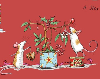 Fat Quarter Just What I Wanted Red Christmas Scene By Anita Jeram For Clothworks