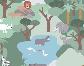 Fat Quarter Call Of The Wild Safari Multi Dear Stella Fabrics, Elephants