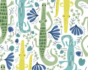 Jungle Jive Alligators Citron By Clothworks  Sold By Half Yard