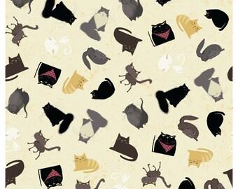 Fat Quarter Snarky Cats Kitten Play Dark Butter By Clothworks