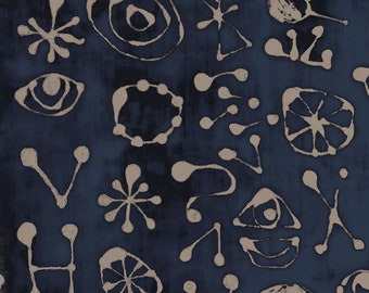 "17""x21""  Indigo Miro Glyphs Art History 101 Collection Designed by Marcia Derse For Windham Fabrics"