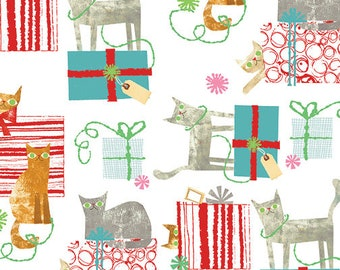Fat Quarter Make Merry Gift Wrapped Cats White By Maria Carluccio For Windham
