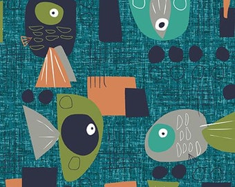 Fat Quarters Fish Hope Funky Fish Teal By Paintbrush Studio Fabrics
