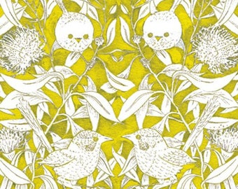 Wrens And Eucalyptus Lemon Green by Patricia Weeks For M & S Textiles Australia, Aboriginal, Indigenous