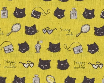 Glamour Cat Yellow Animal World Collection Cotton/Linen Canvas From Kokka Japan, Cat Lover Fabric, Cat Lady