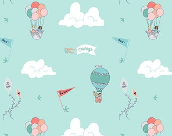 Courage And Kindness Aqua Wonderful World Collection By Michael Miller Fabrics Sold By Half Yard