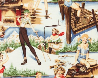 The Great Outdoors White Pin-ups By Alexander Henry  Sold By Half Yard